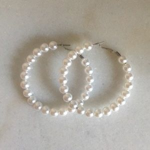 "Large 2.5"" faux pearl hoops NEW"